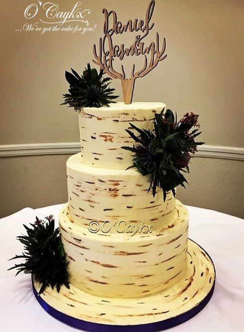 Birch Effect Buttercream Wedding Cake