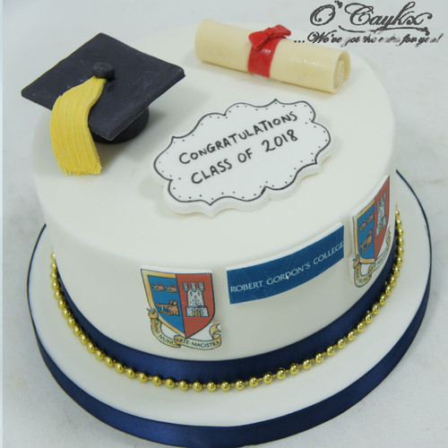 Fondant Graduation Cake with Uni Logo GC0004