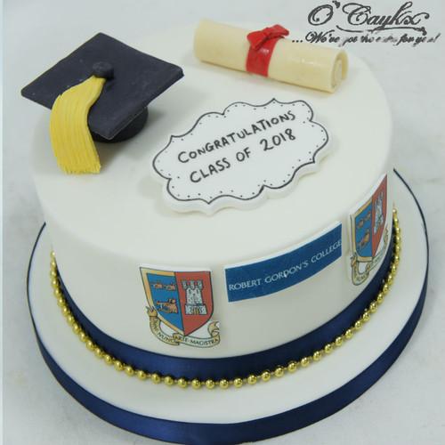 Fondant Graduation Cake with Uni Logo GC0004