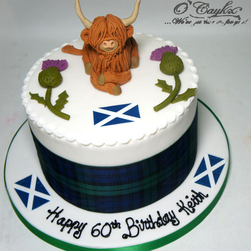 Highland Cow and Thistle Cake