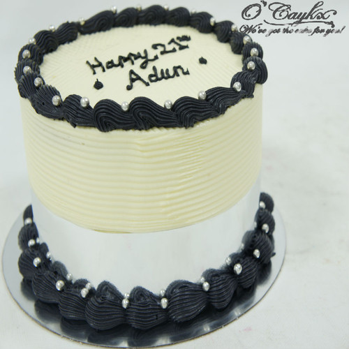 Cream and Black Buttercream Cake