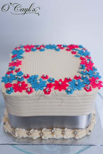 Square Buttercream Cake with Floral Border