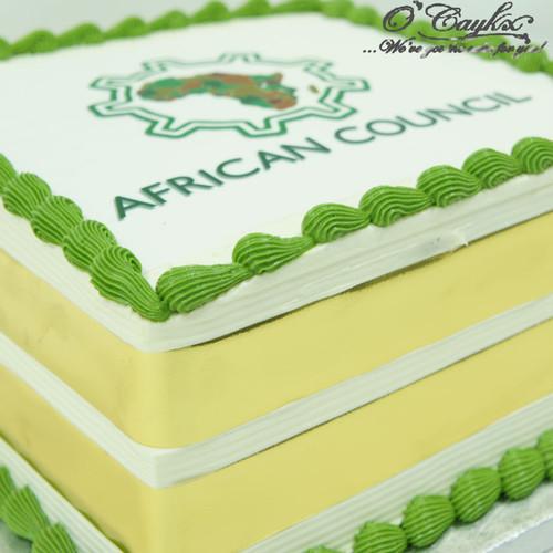 Square Cake with Organisation Logo