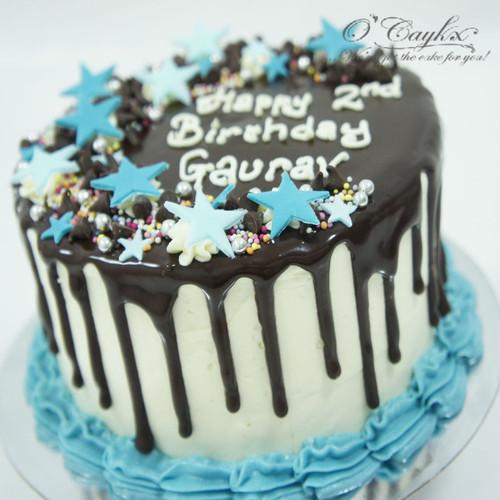 Chocolate Drip cake with Stars