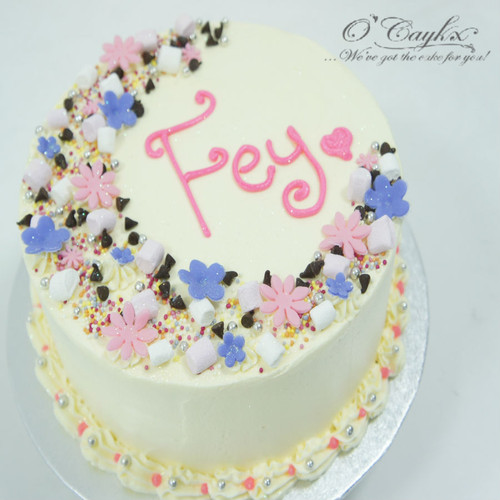 Floral Crescent Buttercream Cake