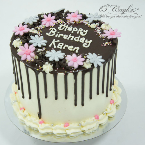 Chocolate Drip cake with Flowers