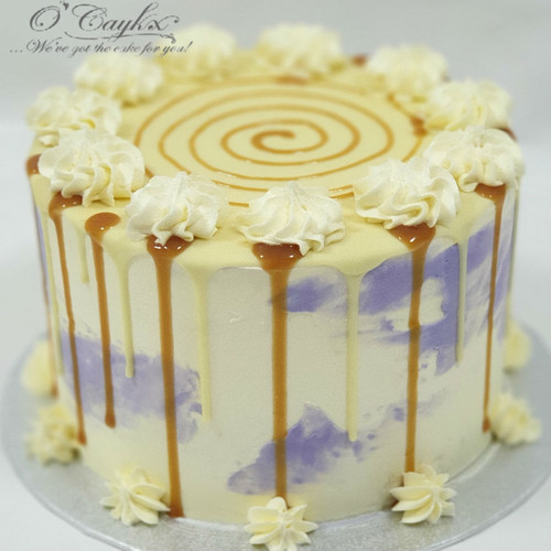 Stained BC Cake White Chocolate  & Caramel Drip