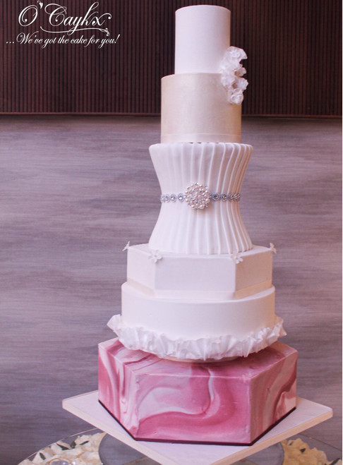Elegant Marble Wedding Cake - WC00184