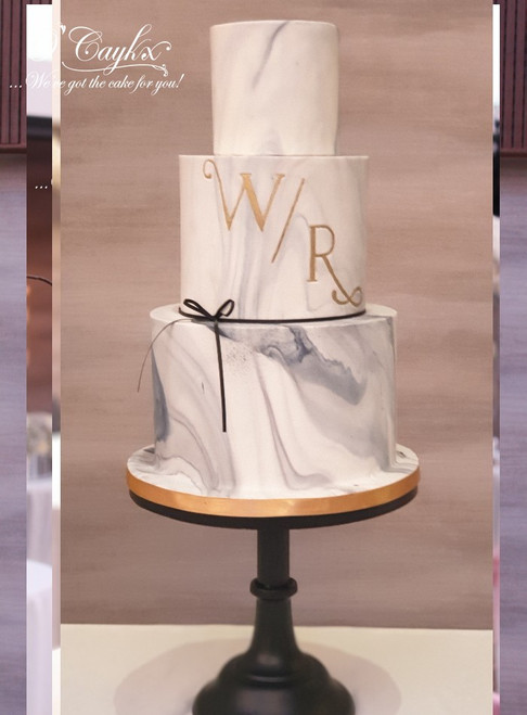 Marble Monogram Wedding Cake