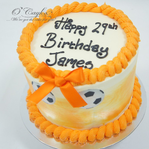 Buttercream cake with Football cutouts