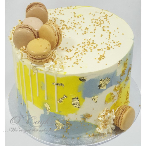 Grey Sunshine Buttercream Cake - Gold
