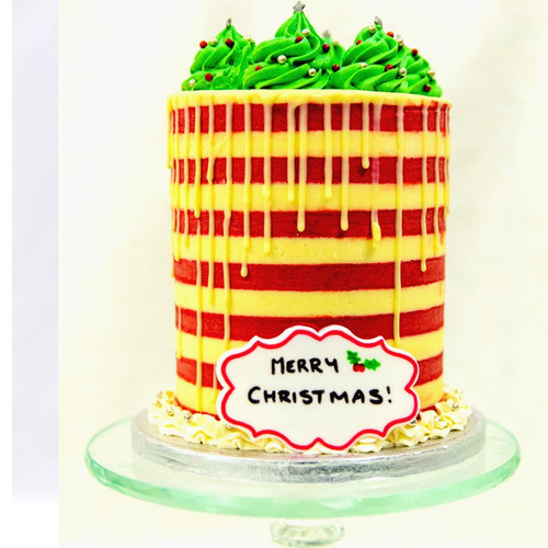 Stripy Christmas Cake - Standard Height