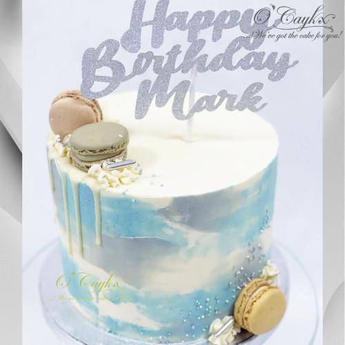 Grey Sunshine Buttercream Cake - Blue