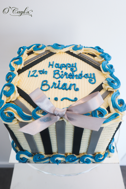 Square Buttercream Cake with Stripes