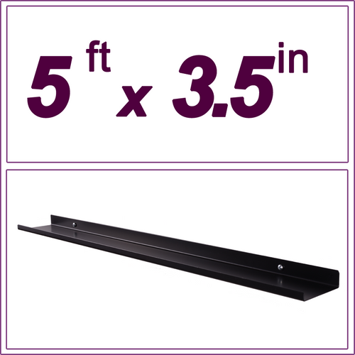 5ft black picture ledge