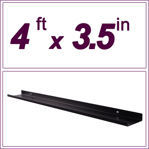 4ft black picture ledge