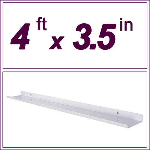 4ft white picture ledge