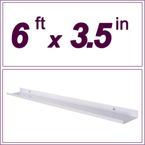 "6ft white picture ledge, 3.5"" deep"