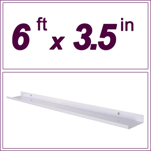 "6ft white picture ledge, 3.5"" deep"
