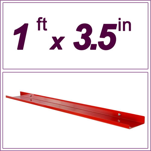 "1ft / 12in Red Metal Picture Ledge, 3.5"" deep"