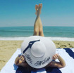 Custom embroidered white color 5 inch floppy beach sun hat for Mrs