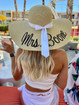 Custom embroidered wide brim natural color 6 inch floppy beach straw hat for Mrs