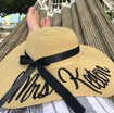 Custom embroidered natural color 5 inch floppy beach straw hat for Mrs