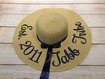 Custom natural color 5 inch floppy beach hat embroidered with Est. year tribe
