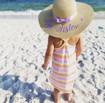 """Personalized summer floppy beach hat for child with """"big sister"""" - lavender embroidery"""