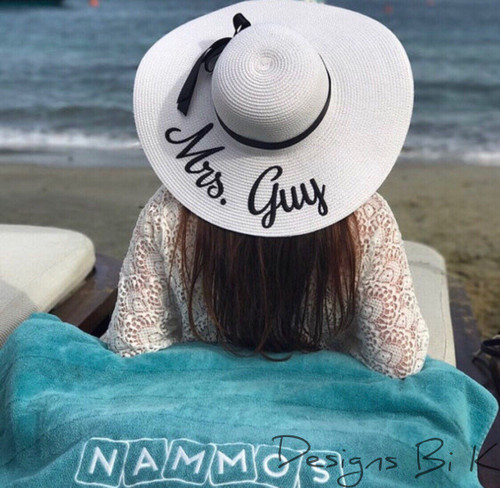 Personalized white color 5 inch floppy beach sun hat for Mrs
