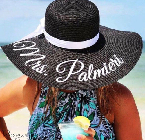 Personalized black color 5 inch floppy beach sun hat for Mrs