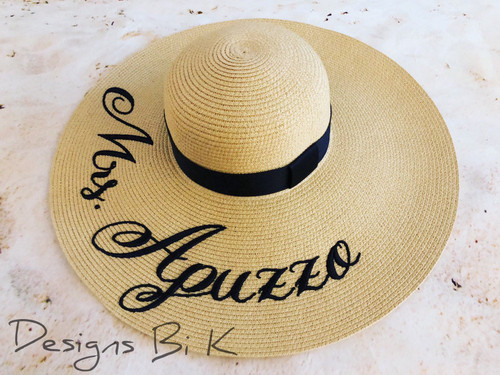 Custom wide brim natural color 6 inch floppy beach hat embroidered with Mrs new last name