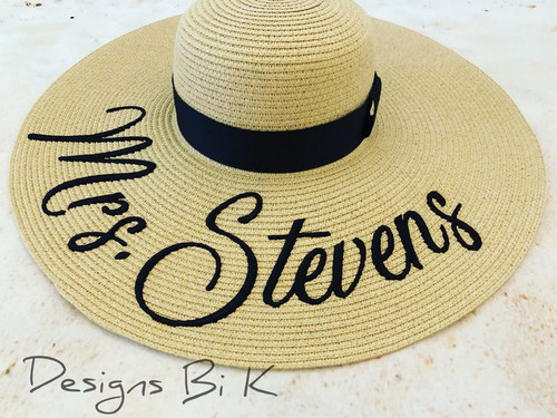 Personalized wide brim natural color 6 inch floppy beach hat embroidered  with Mrs
