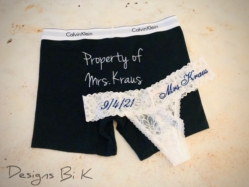 """Underwear set for couples with """"Property of Mrs. xxx"""" and """"Mrs. xxx"""" and wedding date embroidery"""