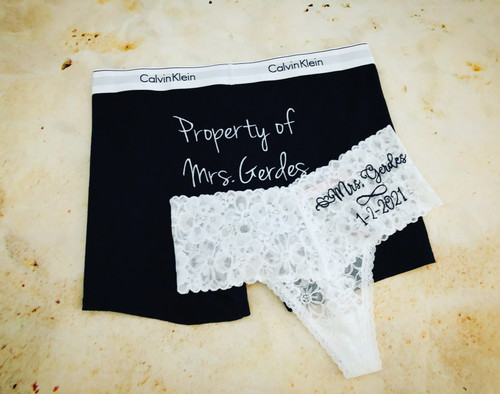 Personalized Property of Mrs boxers and Mrs thong panties