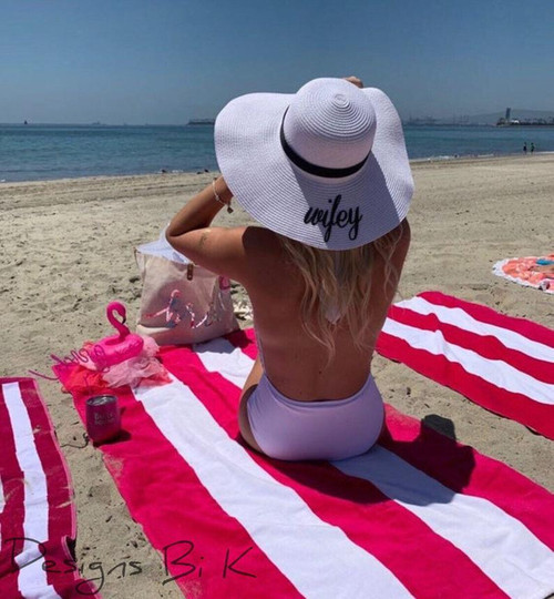 Personalized white color 5 inch floppy beach hat embroidered with wifey