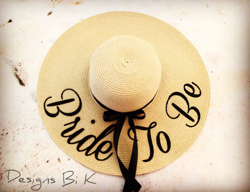 Bride to be custom embroidered women's floppy beach straw hat