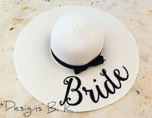 Customized white color 5 inch floppy beach hat embroidered with Bride