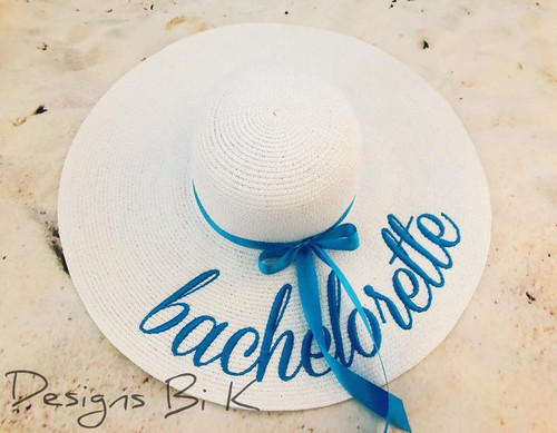Bachelorette custom embroidered women's floppy beach straw hat