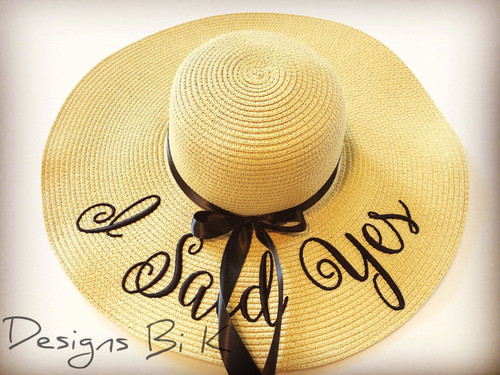 Custom natural color 5 inch floppy beach color sun hat embroidered with I Said Yes