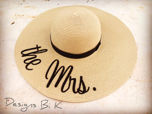 he Mrs. embroidered natural color 5 inch women's floppy beach straw hat