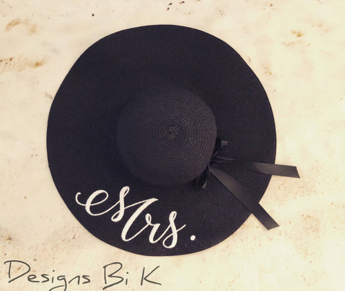 Personalized black color 5 inch women's floppy beach straw hat embroidered with Mrs