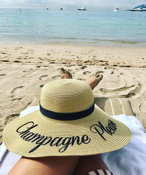 Champagne please custom embroidered women's natural color 5 inch floppy beach straw hat