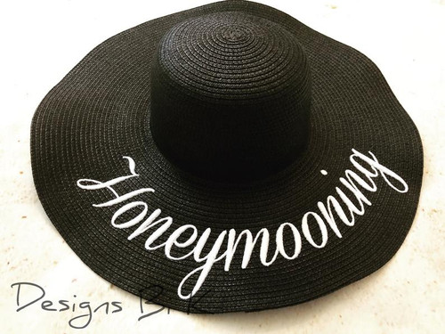 Custom black color 5 inch floppy beach sun hat embroidered with honeymooning
