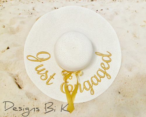 Just engaged custom large white color 6 inch embroidered women's floppy beach straw hat