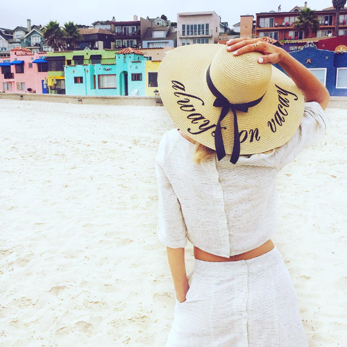 Always on vacay custom embroidered women's floppy beach straw hat