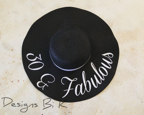 30 & Fabulous custom black color 5 inch embroidered women's floppy beach straw hat