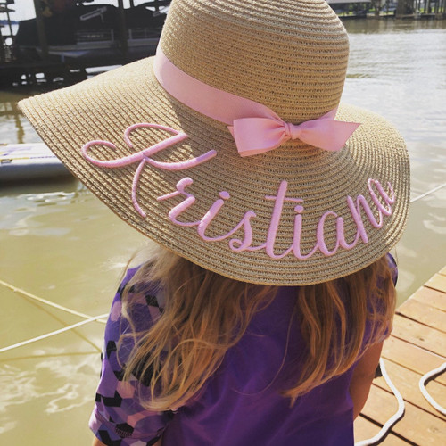 Customized kids natural color beach hat embroidered with first name