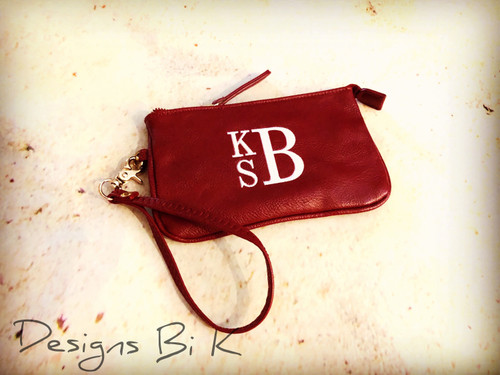 Personalized burgundy color small wristlet with initials