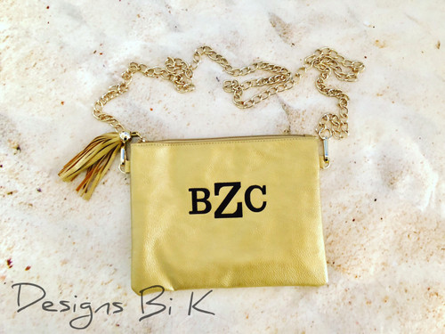 Monogrammed gold color Kendall purse
